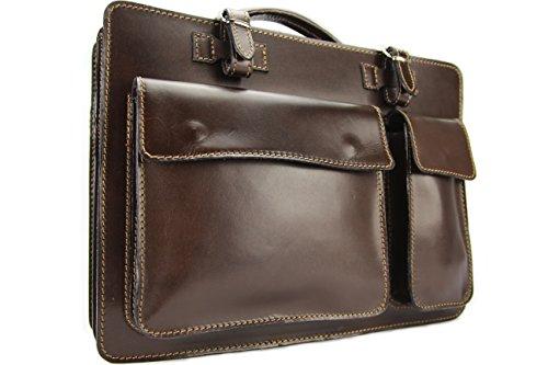 Business- und Laptoptaschen Italienische Luxus Aktentasche L (Mokka)