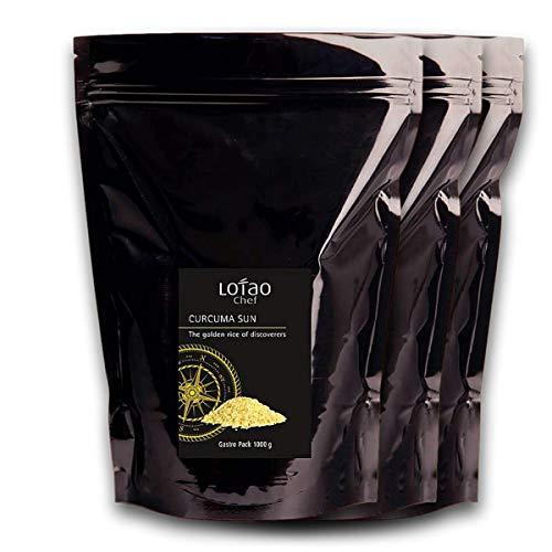 Lotao CURCUMA SUN, der goldene Reis der Entdecker - Bio KURKUMA Basmatireis - nachhaltig, vegan & hochwertig - 3x 1000g