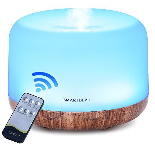 SmartDevil 500ml Aroma Diffuser,Ultraschall Luftbefeuchter Fernbedienung Vernebler Raumbefeuchter Elektrisch Duftlampe Öle Diffusor mit 7 wechselnden Farben und automatischer Abschaltung ohne Wasser