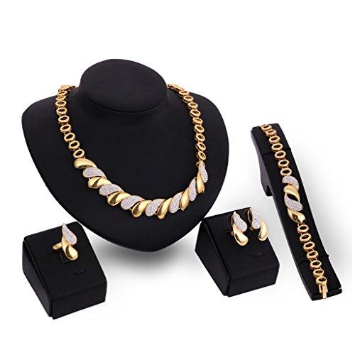 SKYVII Conjunto de gargantilla de diamantes de imitación de moda para mujer
