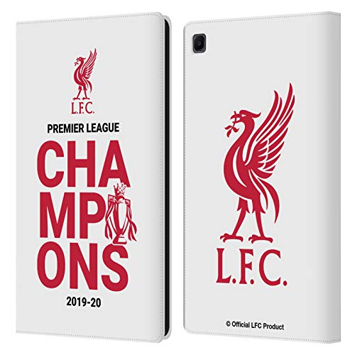 Official Liverpool Football Club White Typography 2020 Champions PU Leather Book Wallet Case Cover Compatible For Samsung Galaxy Tab S6 Lite