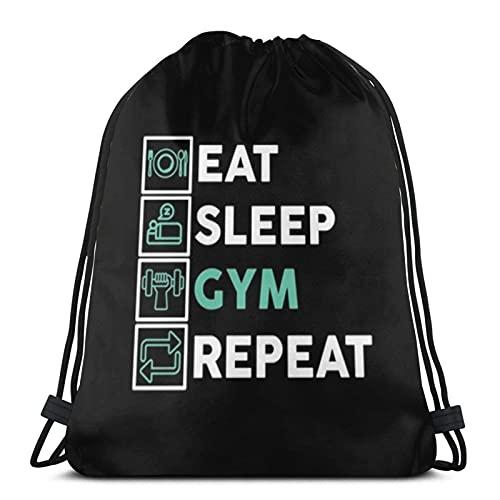 Eat Sleep Gym Repeat Unisex Fútbol Natación Deportes Gimnasio Zapatos de viaje Mochila Mochila Plegable para Mochila Escuela Bolsa para Niños Niñas Hombres Mujeres