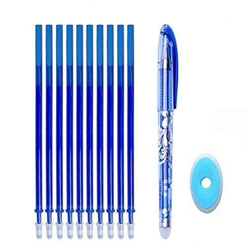 Juego de bolígrafos borrables de repuesto para exámenes Mango lavable Tinta de color azul y negro Bolígrafos de escritura para la oficina de la escuela Suministros de papelería repuesto para exámenes