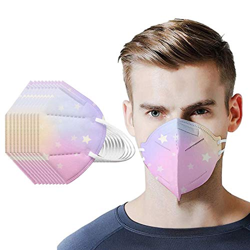 Disposable_Ṇ95_Mẵsk, 5 Layers Cup Dust Safety Tie Dye 10-100PC Face_Mask for Coronàvịrụs Protectịon, Fịlters Efficịency≥95%, Adult's Safety Facial Mouth Covers for Men and Women