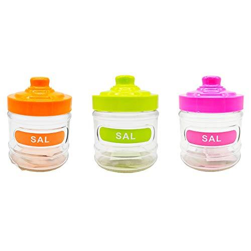 Acan - Pack de 3 saleros de cocina redondos de cristal , 280 ml, con tapa de plástico, 10,5 x 8,3 cm. Bote, frasco, tarro, recipiente para guardar sal. Colores a elegir (Naranja, verde y rosa)