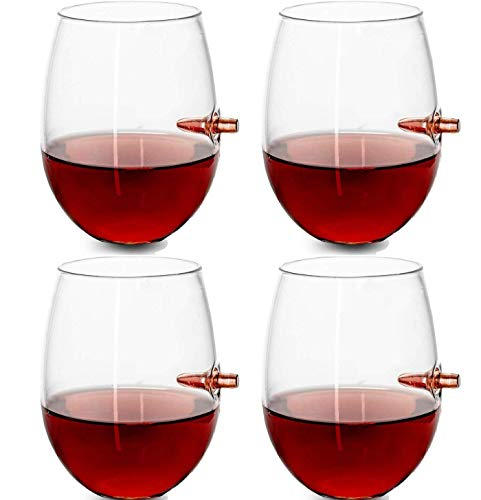 Tcbz Copa de Vino de 4 Piezas, Copa de Whisky a Prueba de Balas para Whisky, Vino de Bar de Vodka Bourbon, Copas de Vino Personalizadas Lucky a Prueba de Balas, lo Mejor para Padre, Esposo