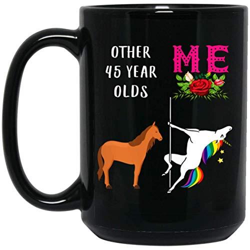 N\A Divertido Unicornio 45 cumpleaños Regalos para Mujeres Que cumplen 45 años Nacido en 1974 Taza de café Negro 11 oz