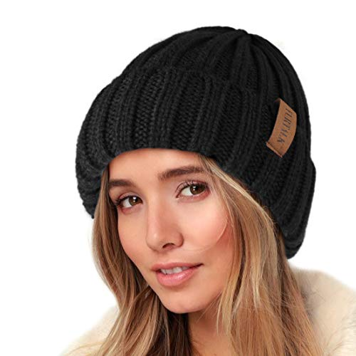 FURTALK Knit Beanie Hats for Women Men Double Layer Cotton Lined Chunky Winter Hat (Black, One Size)