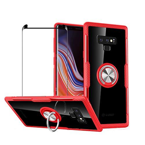 1stfeel Schutzhülle für Kompatibel mit Galaxy Note 9, Transparent PC Fall case & Drehständer Anti-Drop-Schutzhülle + panzerglas schutzfolie Folie