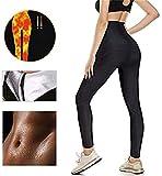 LOFFU Damen Schwitzhose Zum Abnehmen, Schwitz Hosen Damen Thermo Neopren Sauna Hosen,Yoga Hose Sporthose Fitnesshose mit Taschen (M)
