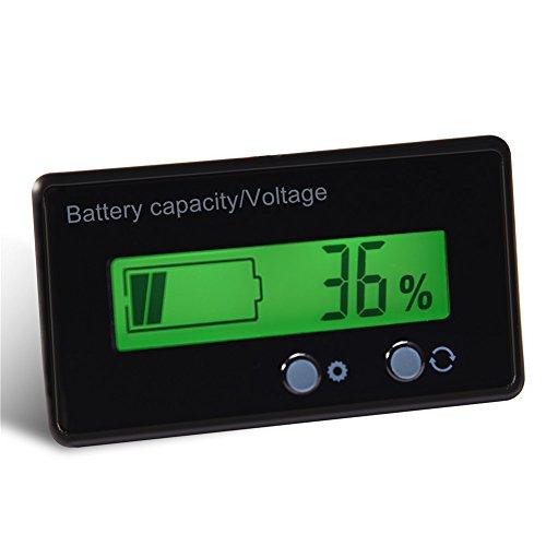 Zunate Universelle Blei-Säure-Lithium Batterie-Status-Anzeige Tester Voltmeter Monitor,LCD-Batterie-Kapazitäts-Monitor-Messgerät-Meter mit grüne Hintergrundbeleuchtung,für Fahrzeug-Batterie,12-48V