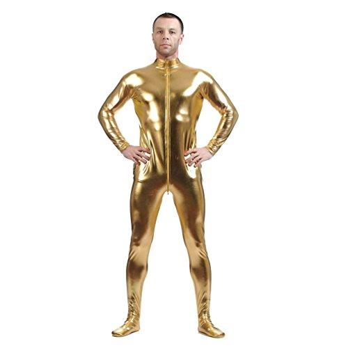 CHENGYANG Metallisch Glänzenden Ganzkörperanzug Anzug Bodysuit Kostüm Spandex Zentai Cosplay Gold 2XL