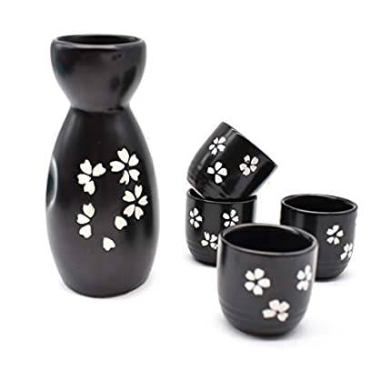 Liwein Sake Set,5 Piezas Sake De CerÁMica Japonesa Tradicionales Botella De Sake Porcelana Cups Tazas De CerÁMica Manualidades Regalo(Negro)