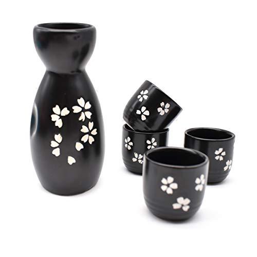 Liwien Sake Set Keramik,5-teilig Handbemalt Japanisch Kirschblüte Porzellan Sake Becher Warm Wein Topf Traditionelle Keramiktassen Weingläser Basteln Geschenk(Schwarz)