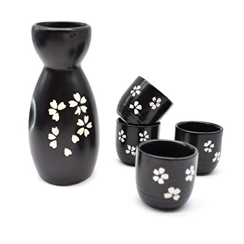 Liwein Sake Set Keramik,5-teilig Handbemalt Japanisch Kirschblüte Porzellan Sake Becher Warm Wein Topf Traditionelle Keramiktassen Weingläser Basteln Geschenk(Schwarz)