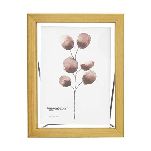 AmazonBasics - Marco de fotos flotante, 13 x 18 cm, efecto latón