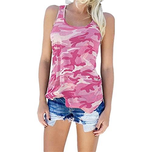 Camiseta Sin Mangas Mujer Básico Cuello Redondo Estampado Camuflaje Mujer Camisa Temperamento Casual Personalidad Moda Elasticidad Única Simplicidad Suave Mujer Tops Sin Mangas C-Pink 3XL