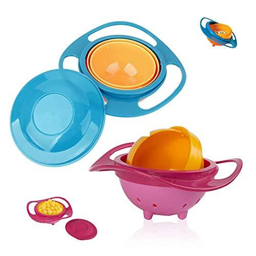 SUNSK Cuencos de Cereales Tazón con Tapa Plástico Tazón Arroz Gachas Sopas Tazón Giratorio Gyro Bowl para Niños 2 piezas