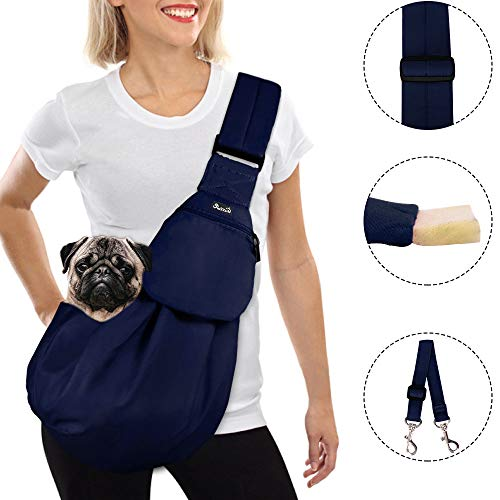 SlowTon Tragetuch Hund, Katze Haustier Hand Schleuderträger Schultertasche Verstellbare Gepolsterte Schultergurt mit Fronttasche hundetragebeutel Metro Outdoor (Dunkel blau)