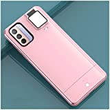 Phone Ring Light Case for Samsung Galaxy S21 Ultra Full Body Protective case with Selfie Light Galaxy S21Ultra, LED Illuminated Luminous Flashlight Illuminate Women[4 Lighting Modes](S21 Ultra, Pink)