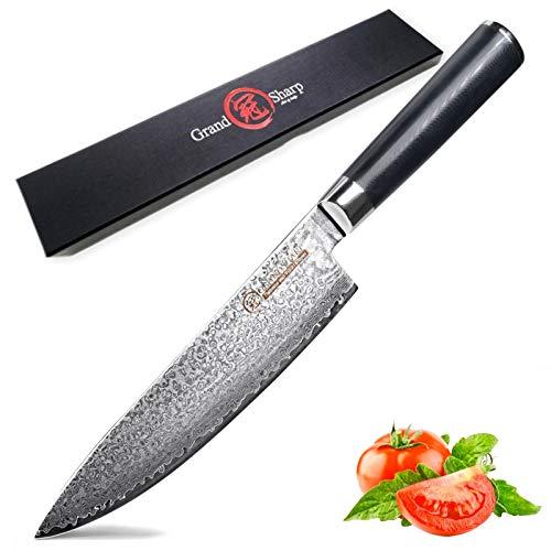 cuchillo de chef Cuchillo Damasco 8'Cuchillo de chef Cuchillo de cocina japonés Damasco VG10 67 CAJA DE CUCHILLOS DE ACERO INOXIDABLE SHARD NEGRO G10 Mango Cuchillo para cocinar (Color : A)