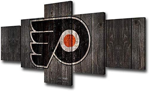 Stampa Foto su Tela Philadelphia Team Logo Picture National Hockey League Sport Poster e Stampe Pittura 5 Pezzi Immagine Realistica Decorativi per La Casa Boy Room