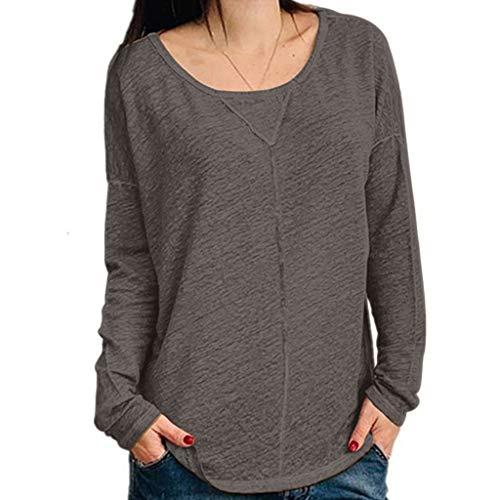 WARMWORD Mujer Tops Color sólido Mujer Cuello Redondo Camiseta Casual Manga Larga tee Camisas Moda Blusa de Las señoras Blusas para Mujer Otoño Talla Grande S-5XL