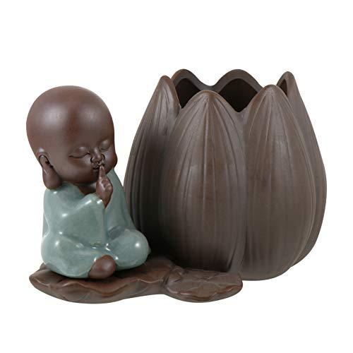 DOITOOL Buddha Fioriera di Ceramica Zen di Coltura Idroponica Pianta Pentola Titolare Piccolo Monaco Desktop di Fiore di Loto Vaso Succulente Planter Decorativi Catcus del Supporto del