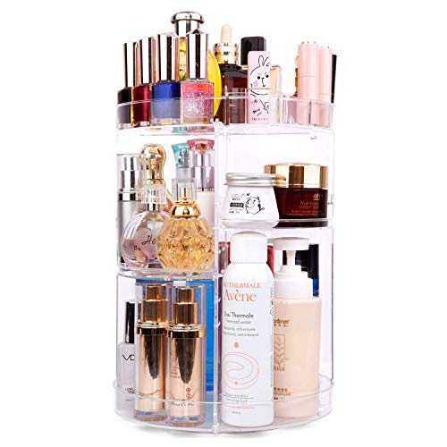 ELOKI make up Organizer Grehbar, 360 grad verstellbar, Kosmetikbox Organizer für Dresser, Schlafzimmer, Badezimmer,Lippenstift, Gesichtscreme, Pinsel-kristallklar