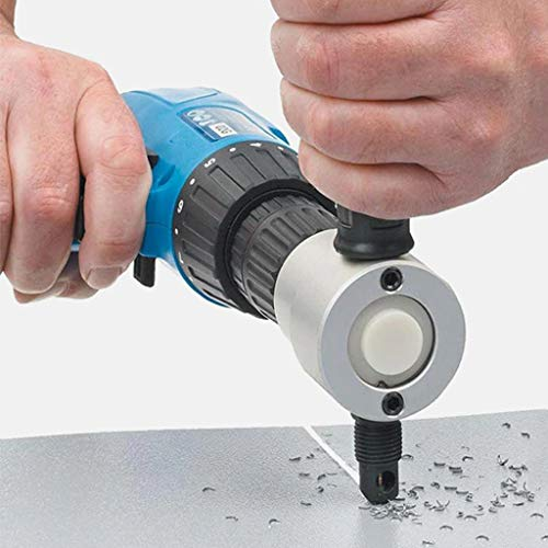 New Weite Double Head Metal Sheet Nibbler Saw Cutter Drill Attachment with Wrench, 360 Degree Adjust...