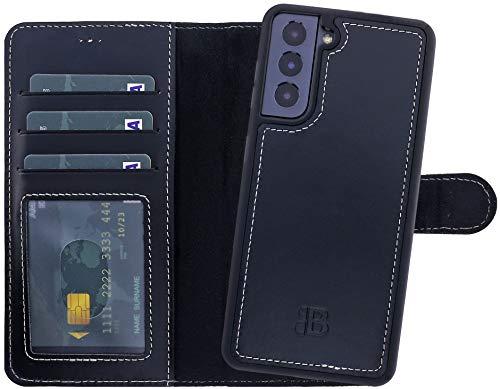 Burkley Handyhülle für Samsung Galaxy S21 Plus Leder-Hülle mit Abnehmbarer Schutz-Hülle kompatibel mit Galaxy S21 Plus Detachable Cover Hülle - TÜV geprüfter RFID Schutz (Schwarz)