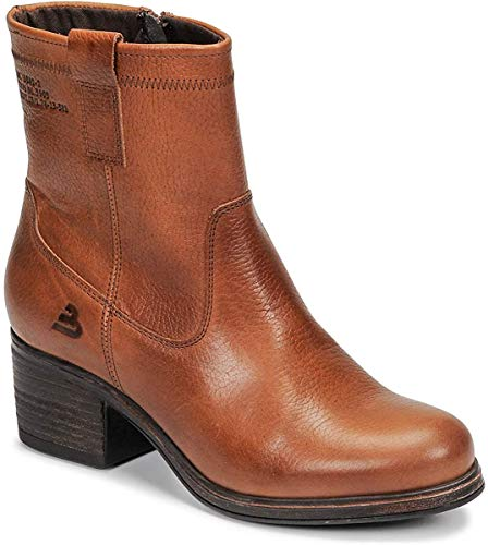 BULLBOXER Damen Stiefeletten, Frauen Klassische Stiefelette,'s Woman Freizeit leger Stiefel Boot halbstiefel Bootie hoch Damen,Cognac,36 EU / 3 UK
