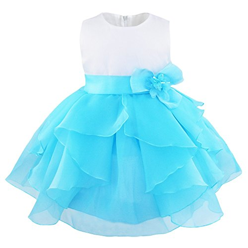 FEESHOW Baby Girls Ruffle Flower Baptism Dress Christening Gown Wedding Party Birthday Tutu Dress Blue 3T