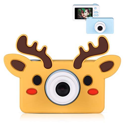 Miavogo Kinderkamera Fotokamera Digitalkamera für Junge Mädchen Kinder ab 3 Jahren 8 Megapixel 2 Zoll Display Geschenk, Blau Kamera + Hirsch-Schutzhülle