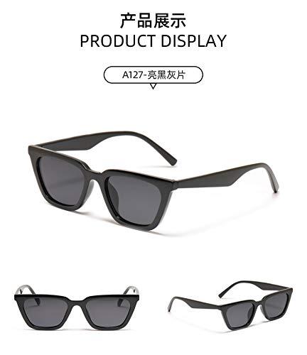 JINZUN Gafas de Sol con Lentes de Color Retro Caja pequeña Gafas de Sol con Montura de Moda Tendencia Anti-Ultravioleta película Gris Negro Brillante