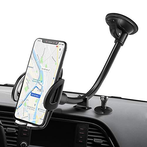 IZUKU Support Telephone Voiture Ventouse avec [2 Stabilisateurs] Porte Telephone Voiture pour Pare-Brise Rotation 360° Support Smartphone Voiture