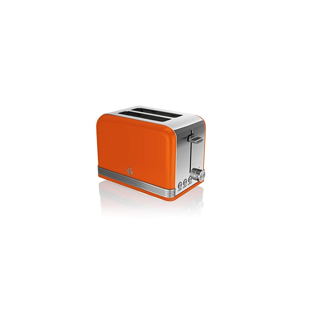 Swan ST19010ON 2-Slice Retro Toaster, 815 W, Orange