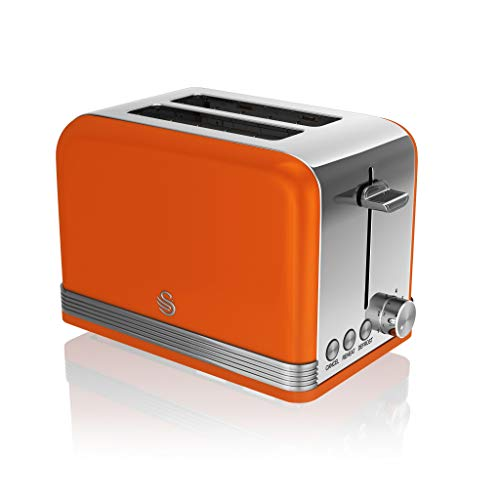 Swan 2 Slice Retro Toaster, Orange, Defrost, Cancel and Reheat Functions, Slide Out Crumb Tray, ST19010ON