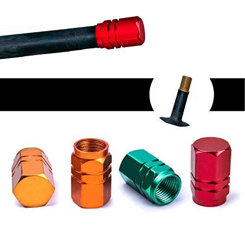 BronaGrand 20 Pieces Schrader Tire Valve Caps, Aluminum Alloy Bicycle Bike Tire Valve Caps Dust Covers 10 Colours