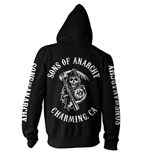 Sons of Anarchy SOA Full CA Backprint Zip Hood (Black), Large