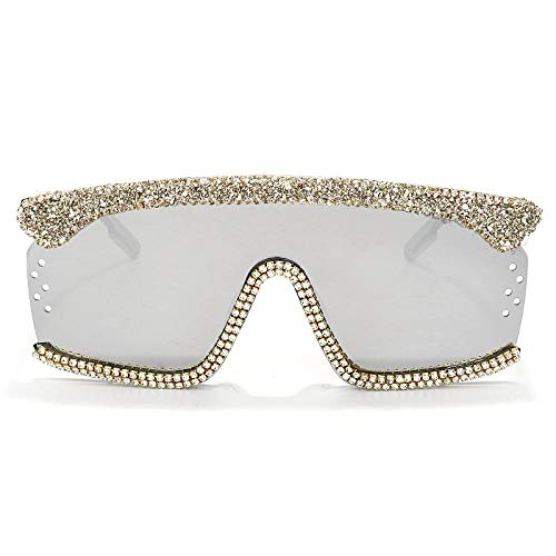 Occhiali da Sole Sunglasses Occhiali da Sole Oversize Occhiali da Sole da Donna One Piece Diamond Occhiali da Sole con Strass Occhiali da Sole Quadrati Uomo Luxury Brand Eyewear Uv400 3