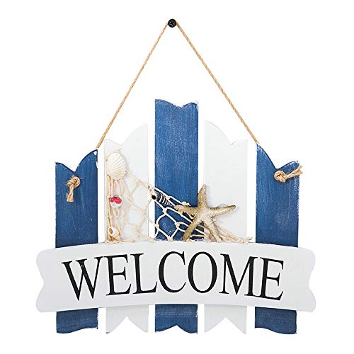 Welcome Sign Porch Decor,Wooden Decor,Nautical wooden decoration,Wall Decor Door Hanging Ornament,Beach Theme Home Decoration,Outdoor vertical sign hanging on the front door