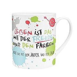 Die Geschenkewelt 45358 XL-Tasse Das Leben ist das mit der Freude, Porzellan, 60 cl, mit Geschenk-Verpackung