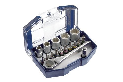 kwb Bit-Box – 17-teilig inkl. Bits, Umschalt-Knarre mit 1/4 Zoll Sechskant-Aufnahme in stabiler Kunststoff-Box mit Gürtelclip