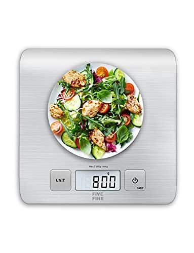 Bilancia da Cucina Digitale Bilancia Precisione 1g Bilancia Elettronica da Cucina Con Funzione Tare e Display a LCD, 4 Unità Bilance in g e oz per Cucina, 5kg/11 lbs, Acciaio Inossidabile, Argento