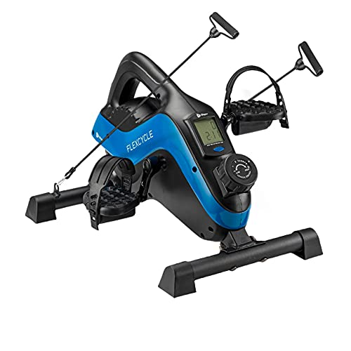 Under Desk Bike Pedal Exerciser - FlexCycle Exercise Bike Stationary Magnetic Cycle with LCD Monitor & Resistance Bands for Arm & Leg Recovery & Therapy - Foot Pedal Exerciser for Home & Office (BLUE)
