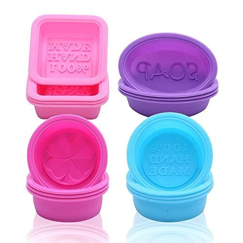 Goodlucky365 16 Pack modelli Ovali Rotondi Quadrati di Sapone Stampo-100 % Fatti da Silicone a Mano
