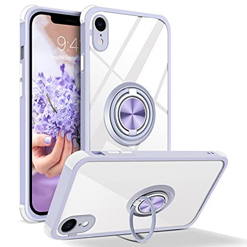 BENTOBEN Coque iPhone XR Transparente Anneau 360° Béquille Housse Slim Fit avec Support à Double Support de Voiture Magnétique Anti-Chute Étuis de Protection pour iPhone XR, Transparente/Violet