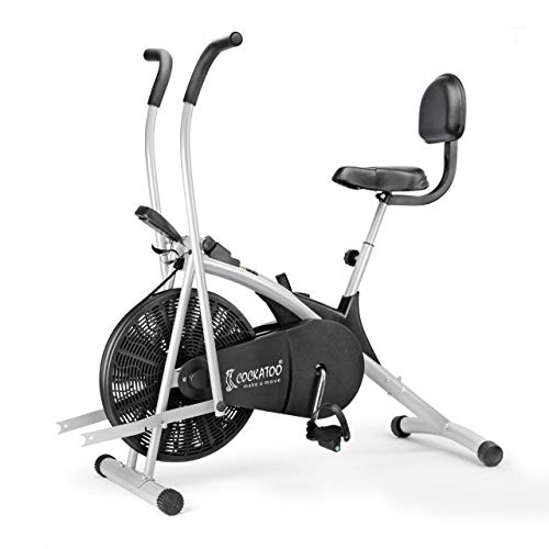 Cockatoo AB06WBC Stainless Steel Exercise Bike with Moving Handle, Back Support and Adjustable Cushioned Seat,(DIY Do It Yourself...