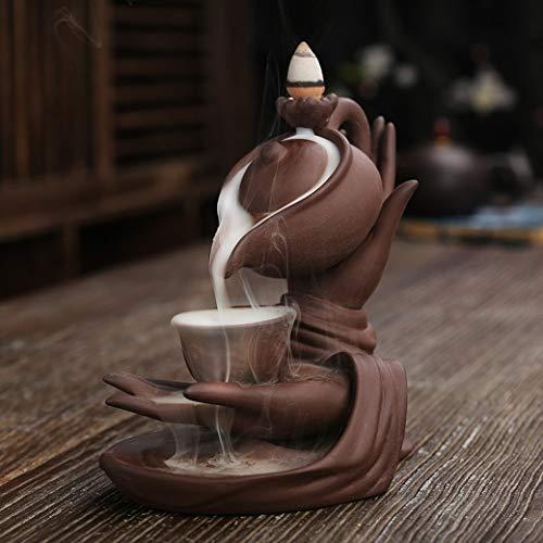 Buddha Hand Series Backflow Incense Burner Indoor Smoke Waterfall Incense Holder Creative Ceramic Incense Burner (Size 1 teapot)
